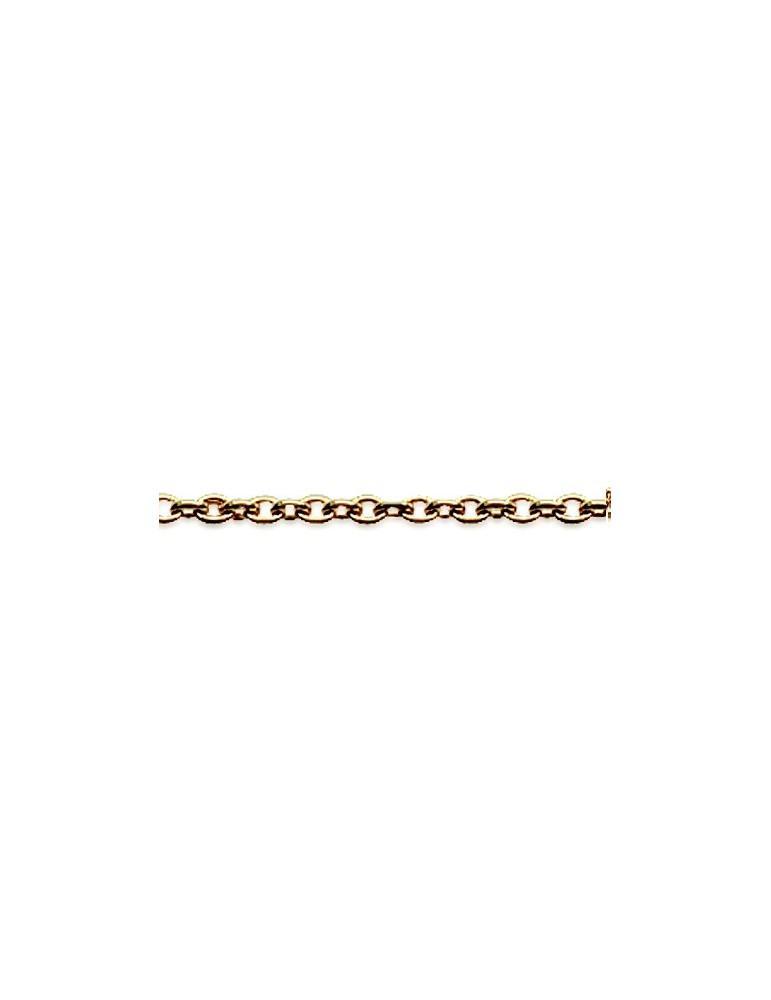 Chaîne plaqué or homme femme maille forçat 1.3 mm 40 cm