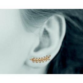Contours d'oreilles plaqué or femme laurier et oxydes
