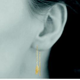 Boucles d'oreilles plaqué or pendantes femme plumes LBIJOUX - 2