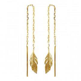 Boucles d'oreilles plaqué or pendantes plumes