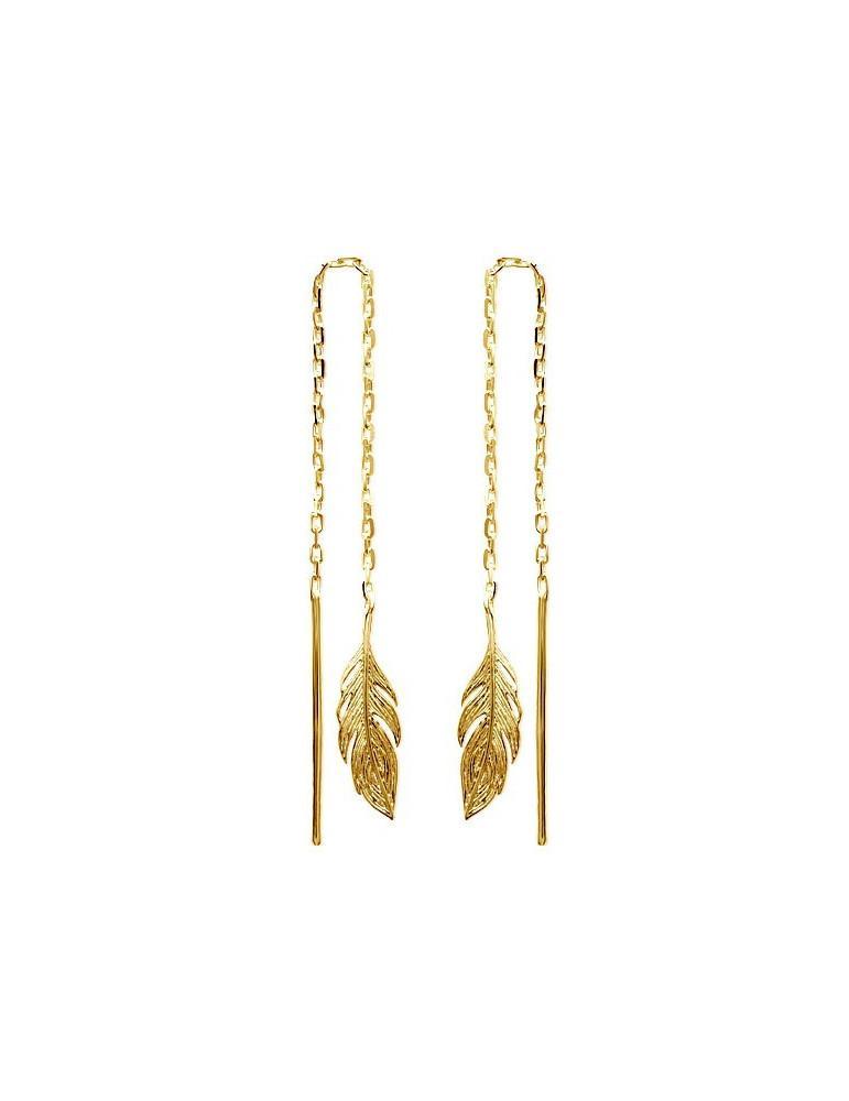 Boucles d'oreilles plaqué or pendantes femme plumes LBIJOUX - 1