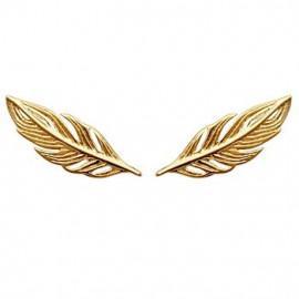 Contours d'oreilles plaqué or plumes