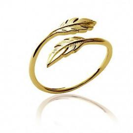 Bague plaqué or décalée plumes femme