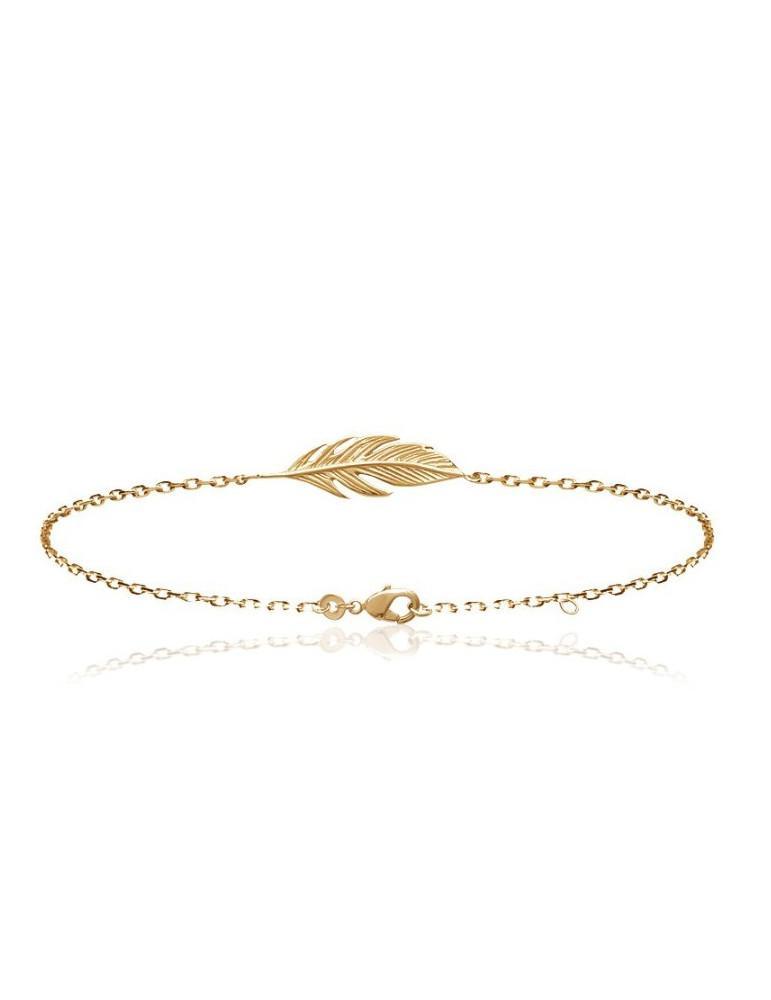Bracelet plaqué or femme plume LBIJOUX - 1
