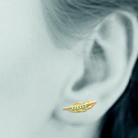 Boucles d'oreilles contours plaqué or femme plumes imitation turquoise LBIJOUX - 2