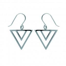 Boucles d'oreilles pendantes femme acier triangles  - 1