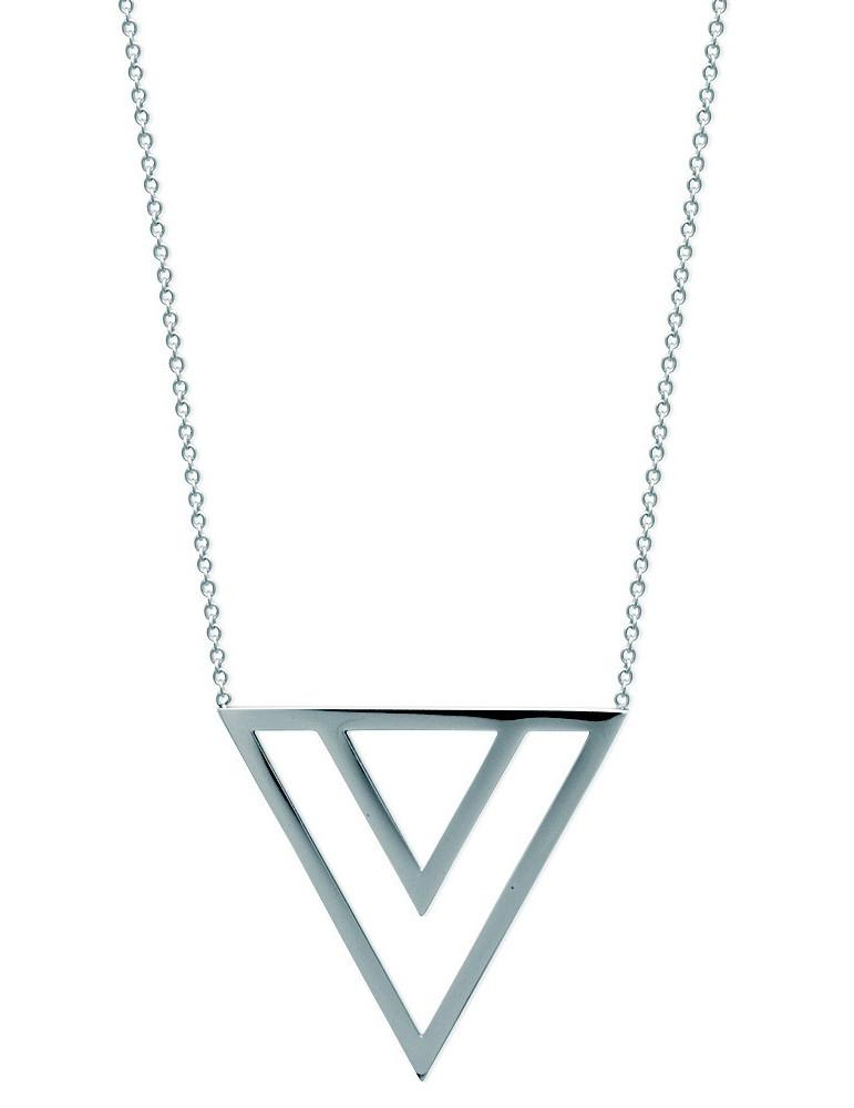 Collier acier femme triangles 45 cm  - 1