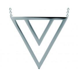Collier acier femme triangles 45 cm  - 2