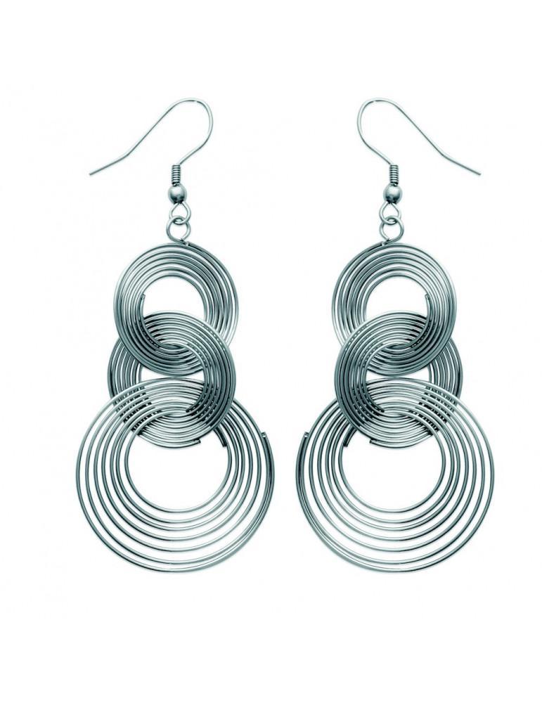 Boucles d'oreilles pendantes femme acier spirales  - 1