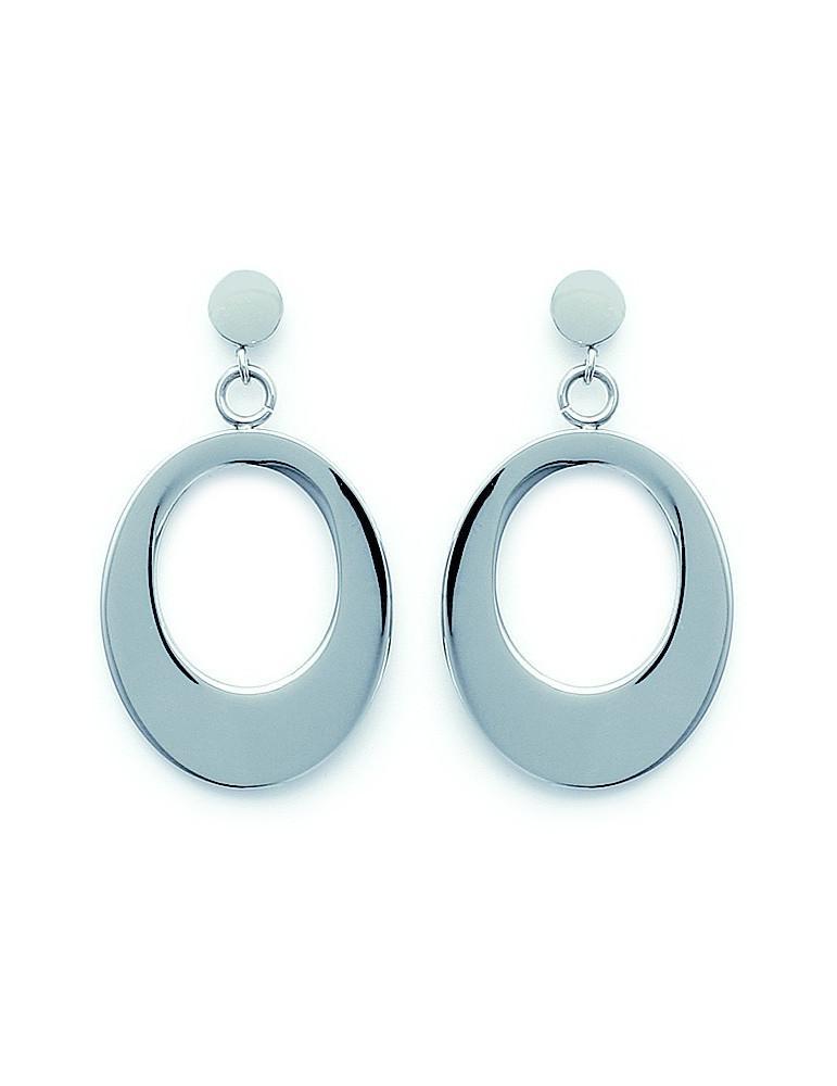 Boucles d'oreilles pendantes femme acier cercles  - 1