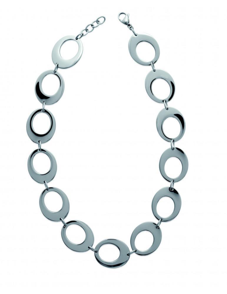 Collier acier femme ellipse  - 1
