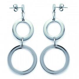 Boucles d'oreilles acier pendantes femme cercles  - 3