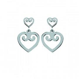 Boucles d'oreilles pendantes acier femme coeur  - 1