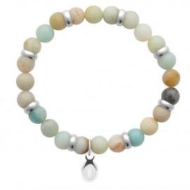Bracelet extensible homme femme perles amazonite naturelle