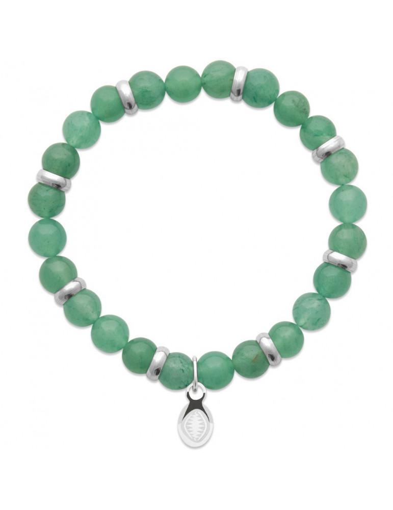 Bracelet extensible homme perles quartz vert naturel