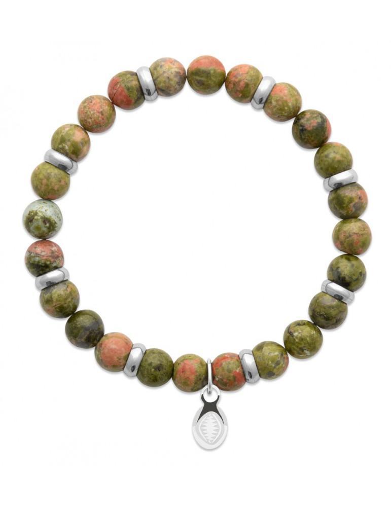 Bracelet extensible homme femme perle unakite naturelle LBIJOUX - 1