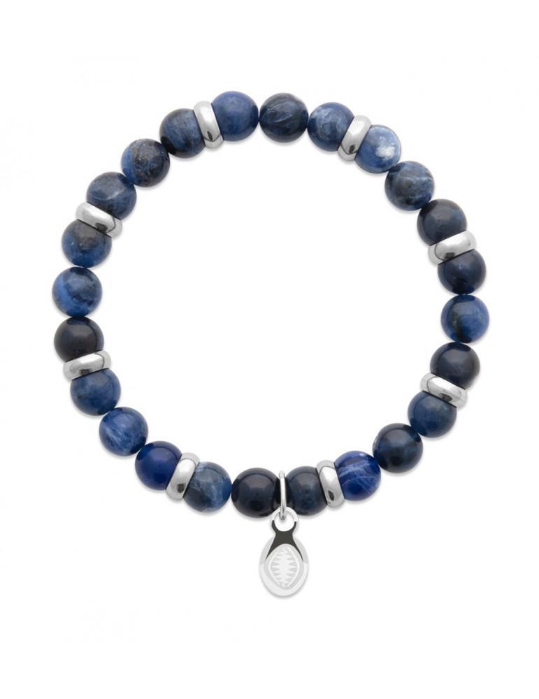 Bracelet extensible homme femme perles jaspe bleu naturel