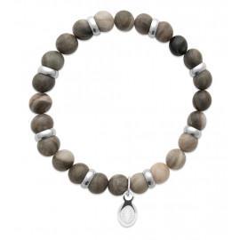 Bracelet extensible homme femme perles jaspe kaki naturel