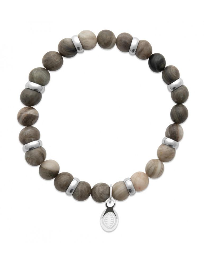 Bracelet extensible homme femme perles jaspe kaki naturel LBIJOUX - 1