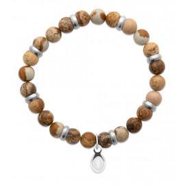 Bracelet extensible homme femme perles jaspe marron naturel LBIJOUX - 1