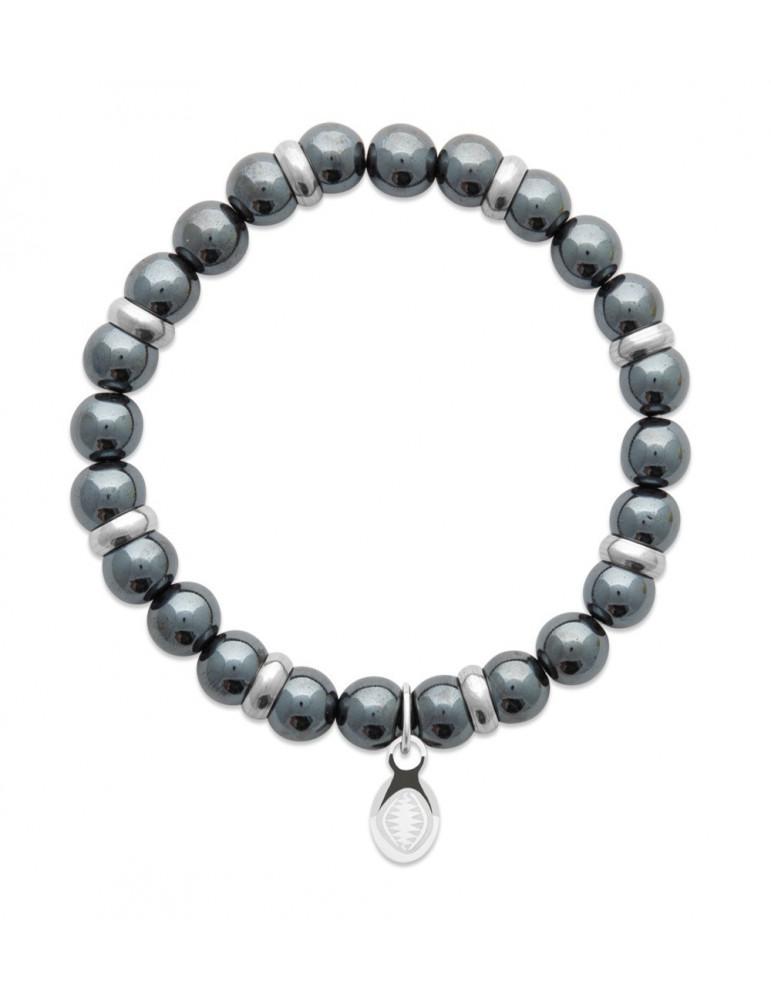 Bracelet extensible homme femme perles hématite naturelle