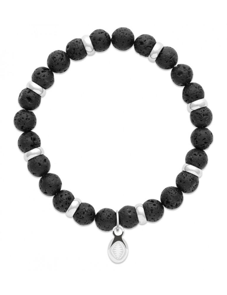 Bracelet extensible homme femme perles de lave naturelle