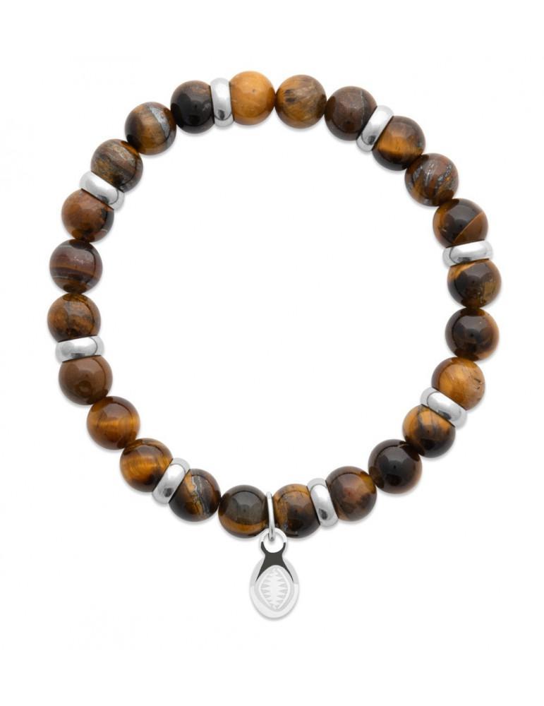 Bracelet extensible homme femme perles œil de tigre naturel LBIJOUX - 1
