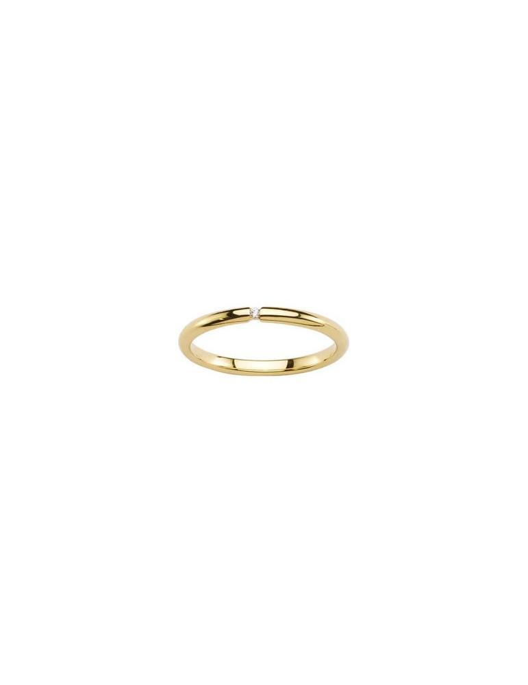 Alliance or 750 jaune demi jonc 2 mm diamants HP1 femme