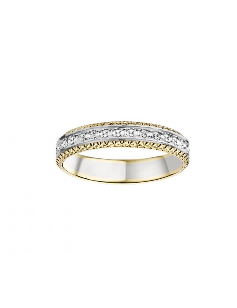 la meilleure attitude 12317 891c8 Alliance or 750 bicolore jaune et blanc palladié diamantée 3 mm femme