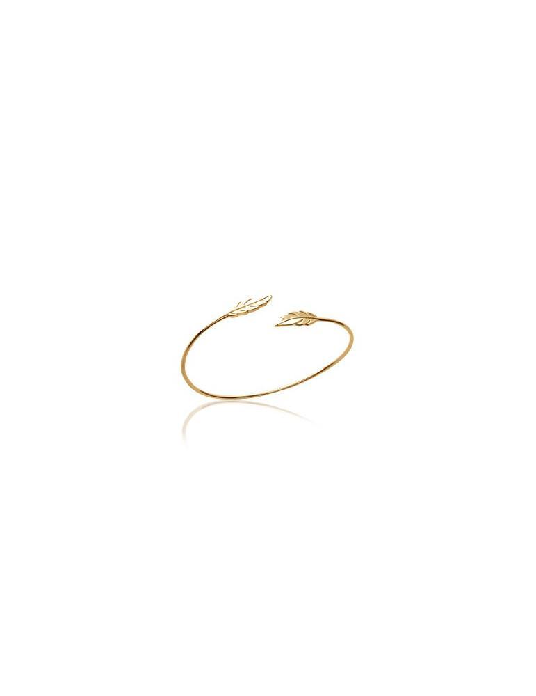 Bracelet jonc ouvert plaqué or femme avec plumes LBIJOUX - 1