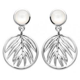 Boucles d'oreilles pendantes argent 925 rhodié bambou et nacre femme