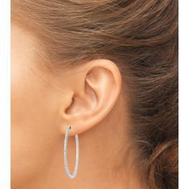 Boucles d'oreilles créoles argent 925 rhodié oxydes femme