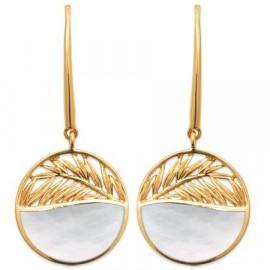 Boucles d'oreilles pendantes plaqué or bambou et nacre femme
