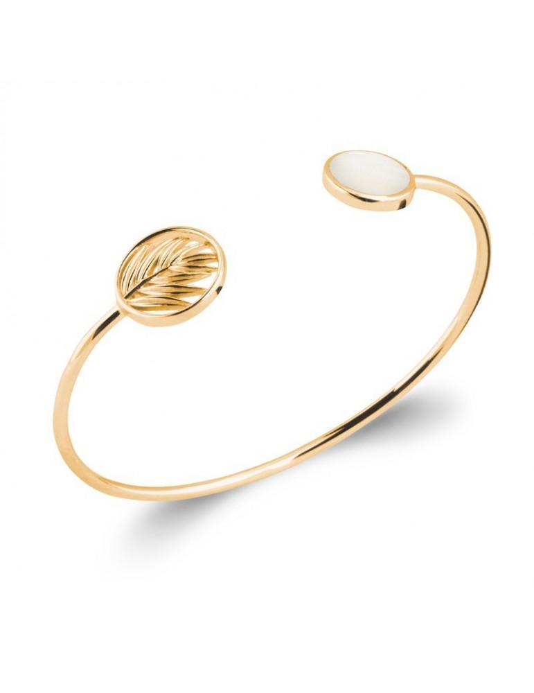 Bracelet jonc ouvert plaqué or bambou et nacre femme