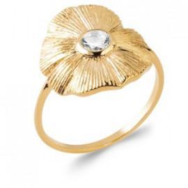 Bague plaqué or fleur oxyde femme
