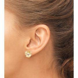 Boucles d'oreilles plaqué or fleurs et oxydes femme