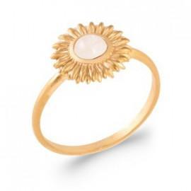 Bague plaqué or fleur pierre de lune femme