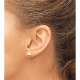 Boucles d'oreilles plaqué or fleur pierre de lune femme