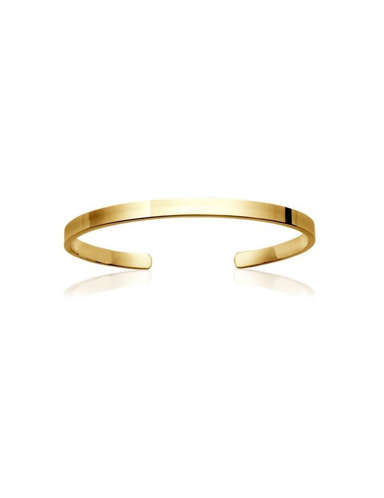 Bracelet jonc plaqué or plat ouvert femme