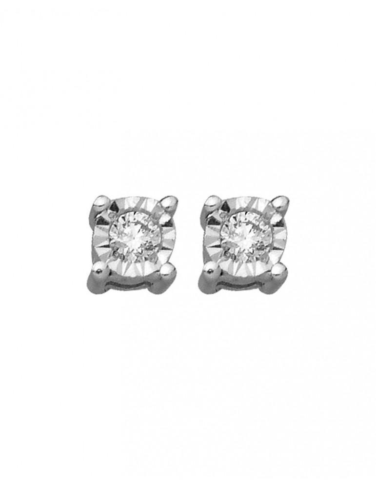 Boucles d'oreilles or 750 blanc et diamant 0.08 carat