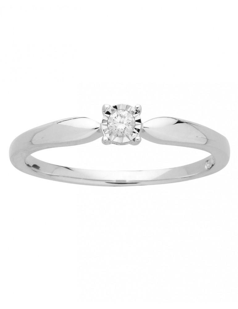 Bague solitaire or 750 blanc diamant 0.08 ct