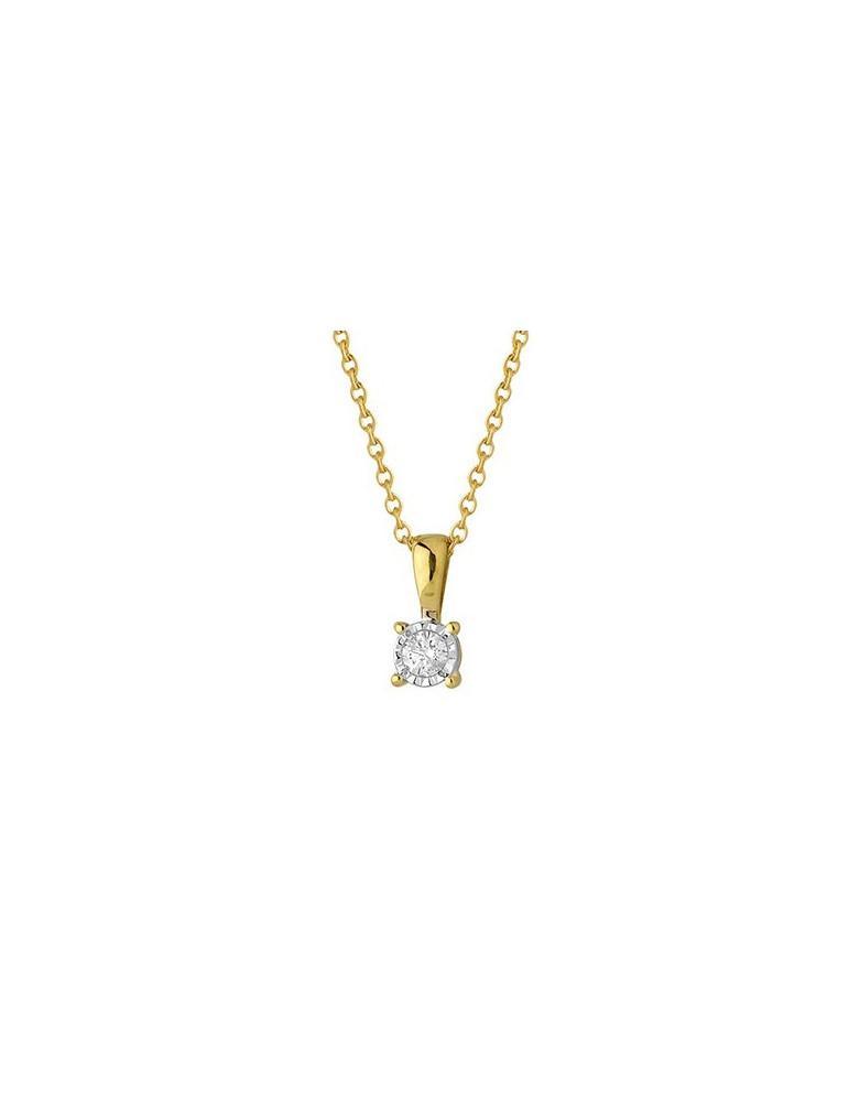 Chaîne et pendentif or 750 jaune et diamant 0.05 carat