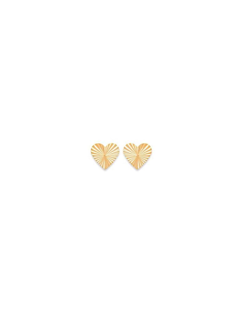 Boucles d'oreilles plaqué or cœurs diamantés