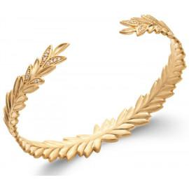Bracelet jonc plaqué or feuilles empierrées femme