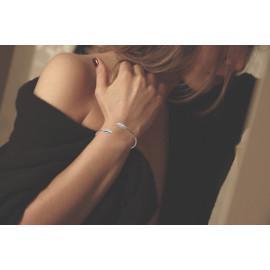 Bracelet jonc argent 925 rhodié ouvert femme plumes et oxydes femme