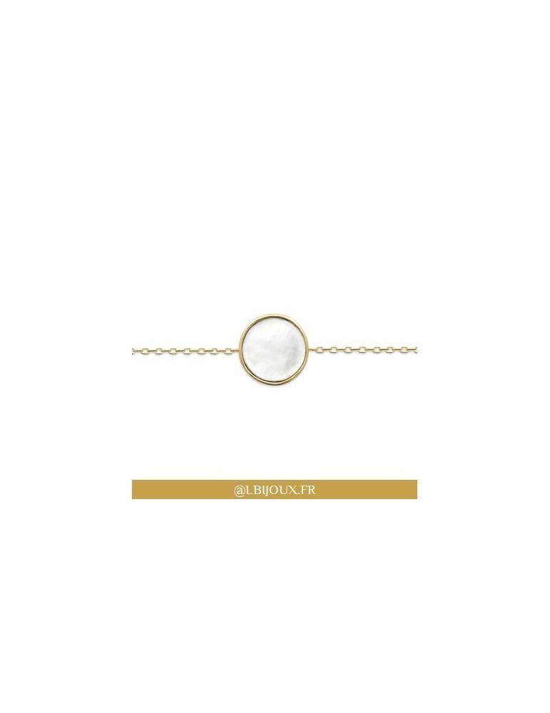 Bracelet plaqué or cercle nacre femme