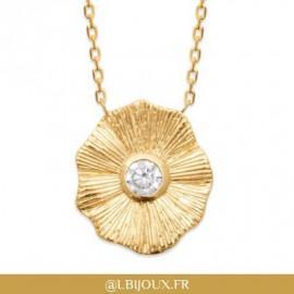 Collier plaqué or fleur oxyde femme