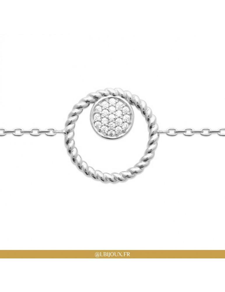Bracelet argent 925 rhodié torsade avec pavage oxydes femme
