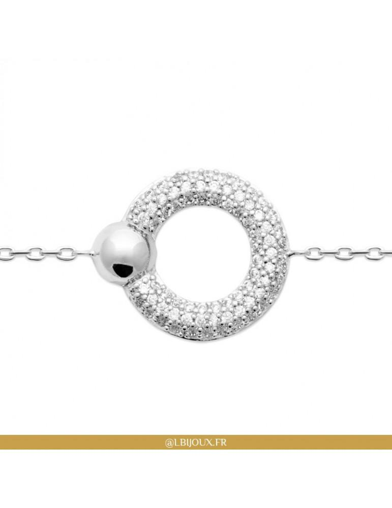 Bracelet argent 925 rhodié cercle oxydes femme