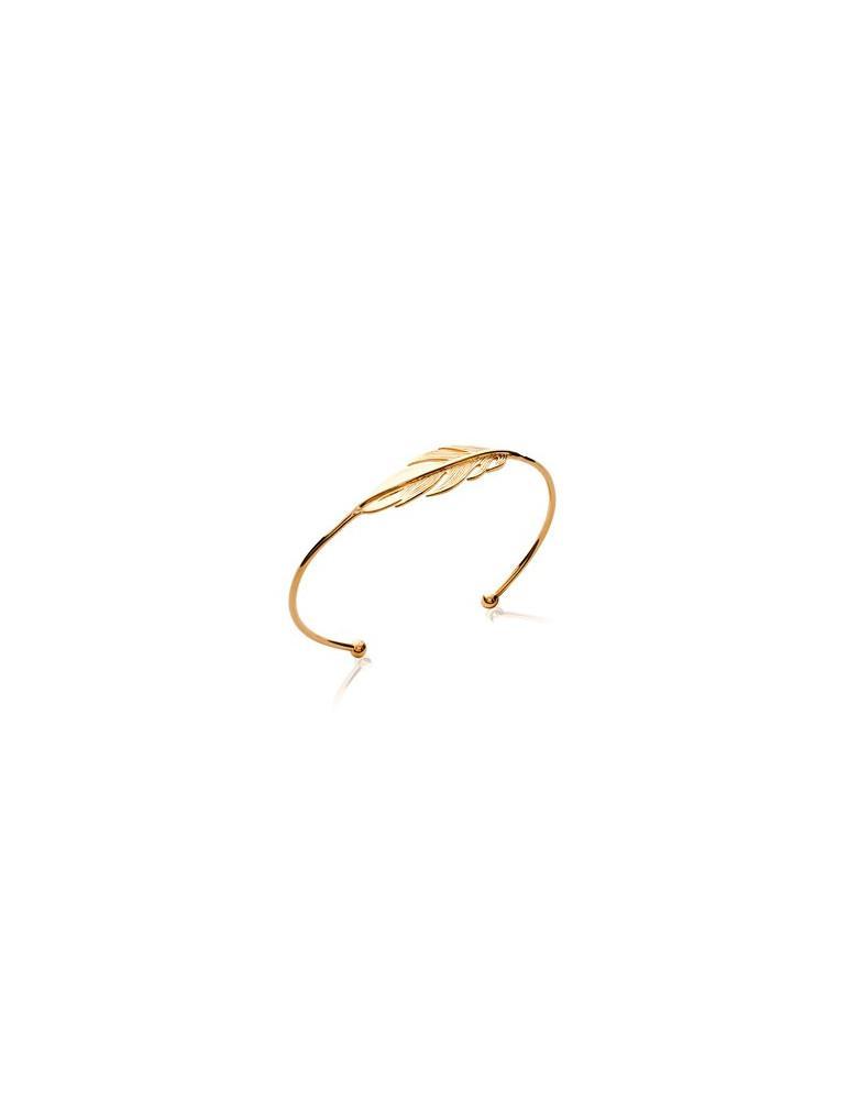 Bracelet jonc plaqué or femme ouvert plume femme LBIJOUX - 1